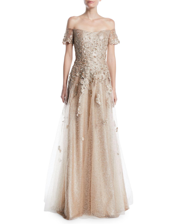 Rene Ruiz Off-the-Shoulder Gown w/ Tulle & Floral Applique | Neiman ...