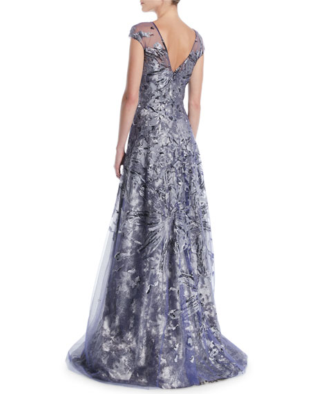 Brocade Cap-Sleeve Illusion Gown