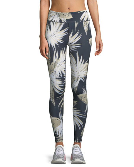 Alala Captain Palm-Print Activewear Ankle Tight Leggings