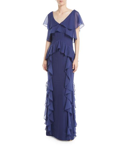 Nia Draped-Ruffle Combo Gown