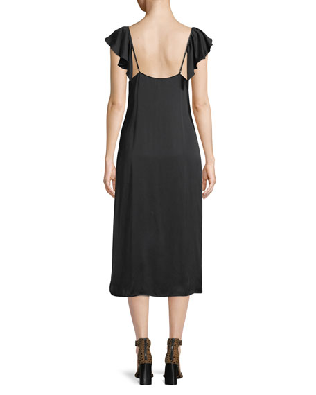 Flutter-Sleeve Midi-Length Slip Dress