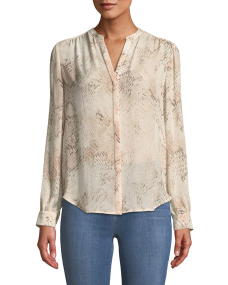Bardot Snakeskin-Print Silk Button-Front Blouse