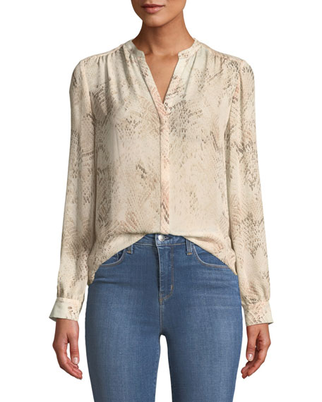 L'Agence Bardot Snakeskin-Print Silk Button-Front Blouse and