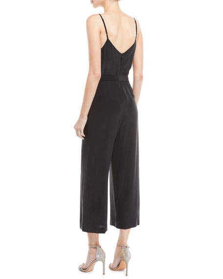 Dia Silk Wide-Leg Cropped Cami Jumpsuit