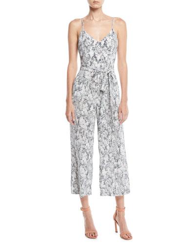 L Agence Jaelyn V-Neck Camisole Straight-Leg Animal-Print Silk Jumpsuit 2ac0d9b36