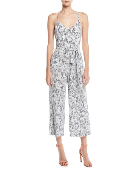 Jaelyn V-Neck Camisole Straight-Leg Animal-Print Silk Jumpsuit