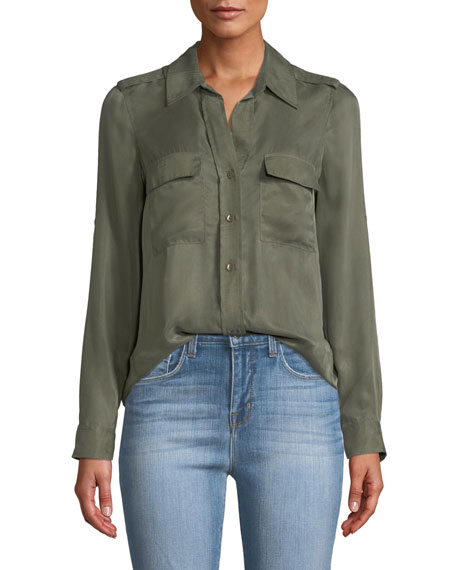 Lunetta Button-Front Utility Shirt