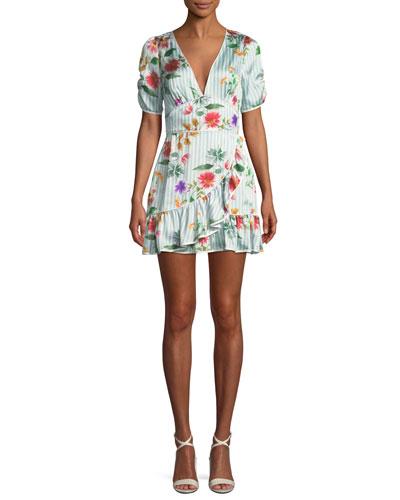 Barb Striped Floral Flounce Short Dress
