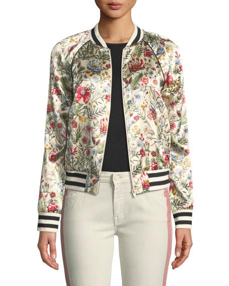 Letterman Floral-Print Bomber Jacket