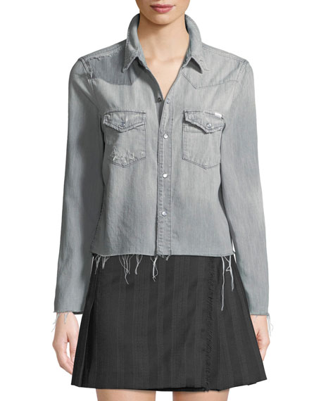 Super Exes Cropped Frayed Snap-Front Shirt