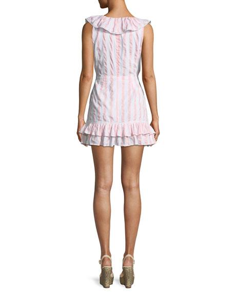 Bennet V-Neck Sleeveless Ruffled Striped Cotton Mini Dress