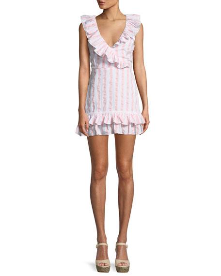 Tularosa Bennet V-Neck Sleeveless Ruffled Striped Cotton Mini