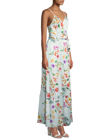 Aubrie Striped Floral Wrap Long Dress