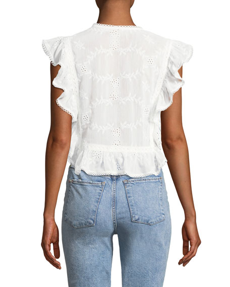 Cole Embroidered Ruffle Top
