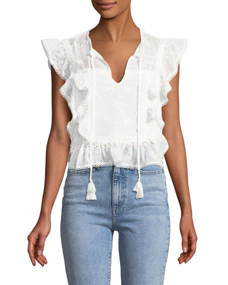 TULAROSA Cole Embroidered Ruffle Top in Ivory