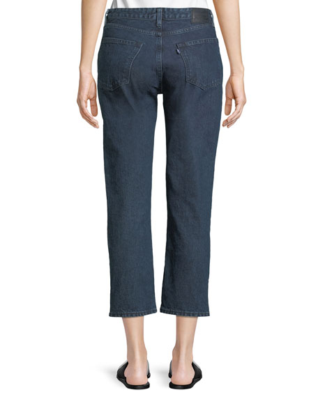 Slim Cropped Straight-Leg 2-Tone Jeans