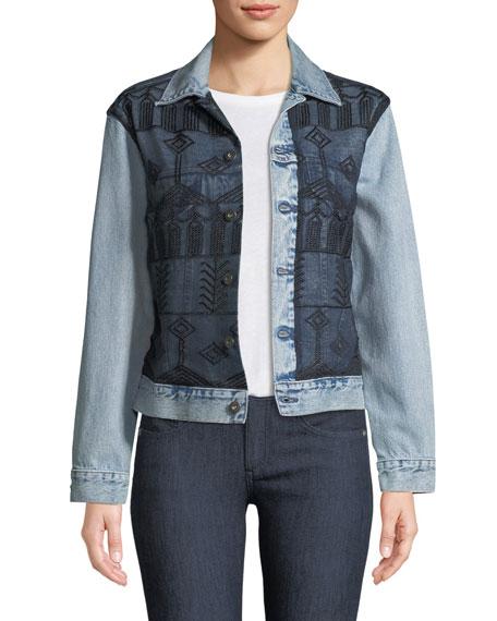 Embroidered Boyfriend Trucker Denim Jacket
