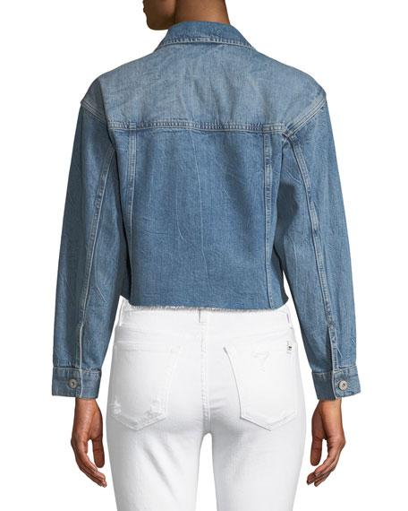 Tori Cropped Button-Front Denim Jacket