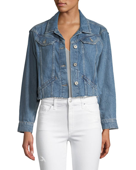PAIGE Tori Cropped Button-Front Denim Jacket