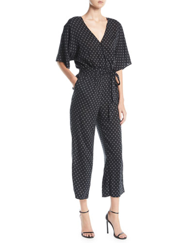 Vanette Polka-Dot Printed Cropped Jumpsuit