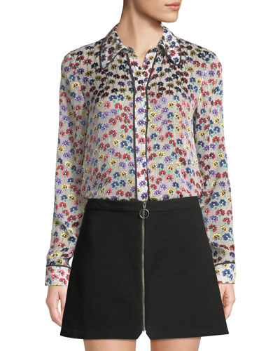 Alfie Button-Front Floral Long-Sleeve Top