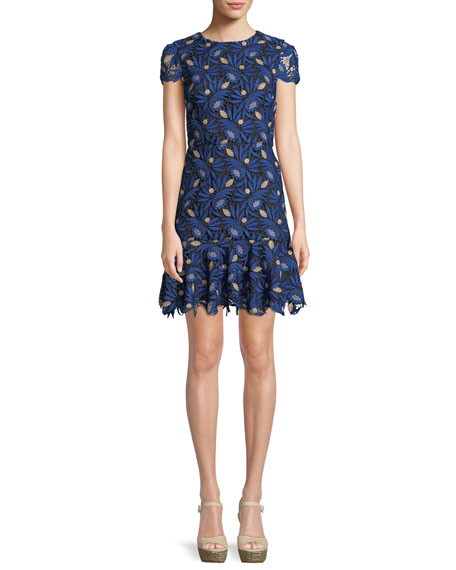 Alice + Olivia Imani Cap-Sleeve Fit Flare Dress