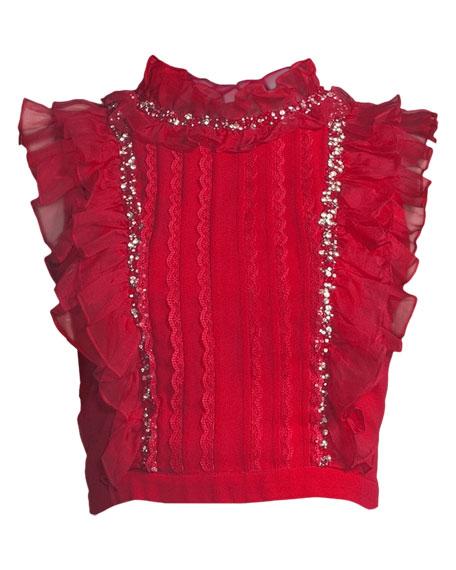 Gwen Embellished Pintuck Ruffle Crop Top