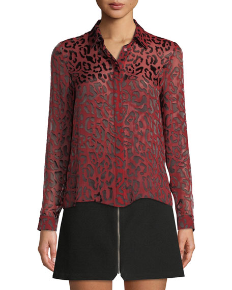 Alice + Olivia Willa Leopard Burnout Placket Top