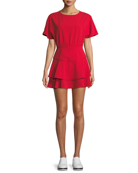 Palmira Tie-Back Tiered Mini Dress