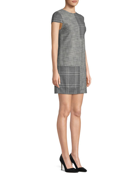 Coley Check Cap-Sleeve Mini Dress