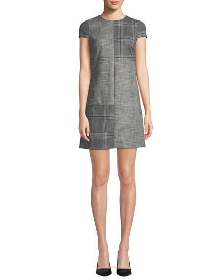 ALICE + OLIVIA COLEY MIXED PLAID A-LINE SHIFT DRESS