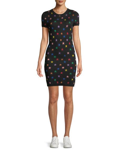 Hayden Short-Sleeve Fitted Star Jacquard Dress