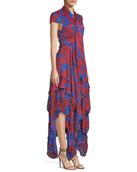 Ilia Tie-Neck Layered Ruffle Dress