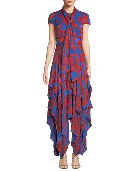 Ilia Ruffled Floral-Print Crepe De Chine Midi Dress, Red Pattern