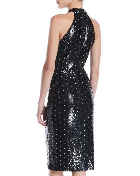 Jeana Sequin Halter Zip-Up Slit Dress