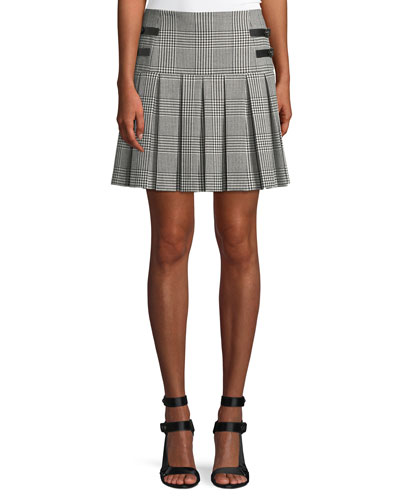 Emilie Pleated Check Short Skirt w/ Leather Buckles
