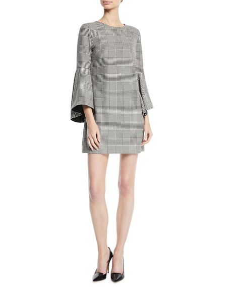 Alice + Olivia Thym Check Trumpet-Sleeve Tunic Dress