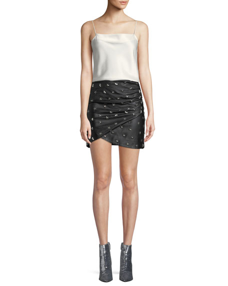 Fidela Draped Leather Star-Studded Mini Skirt
