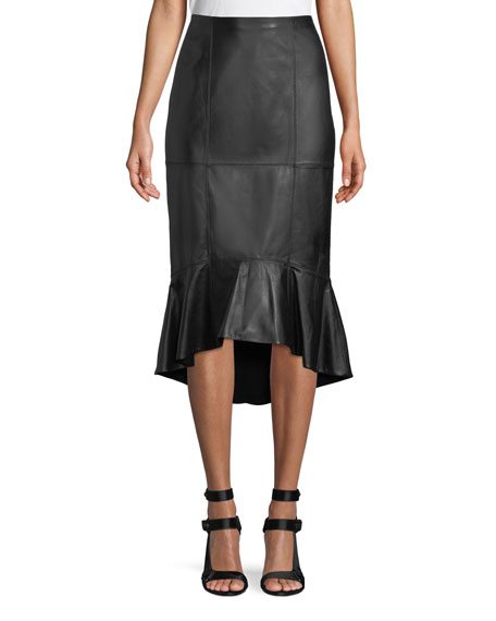 Kina Leather Midi Pencil Skirt w/ Flounce Hem