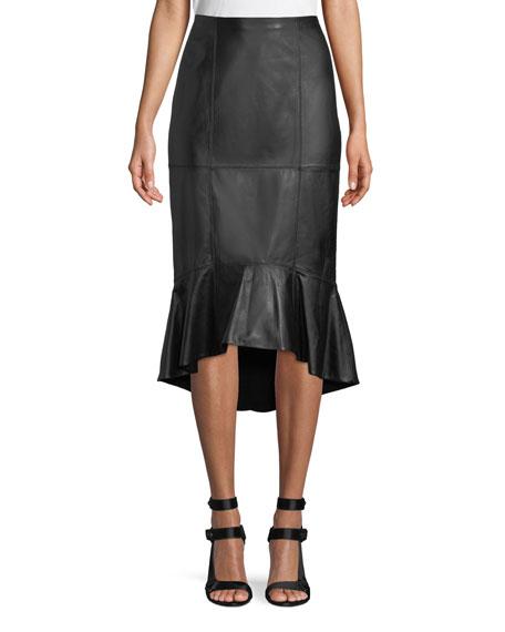 Alice + Olivia Kina Leather Midi Pencil Skirt