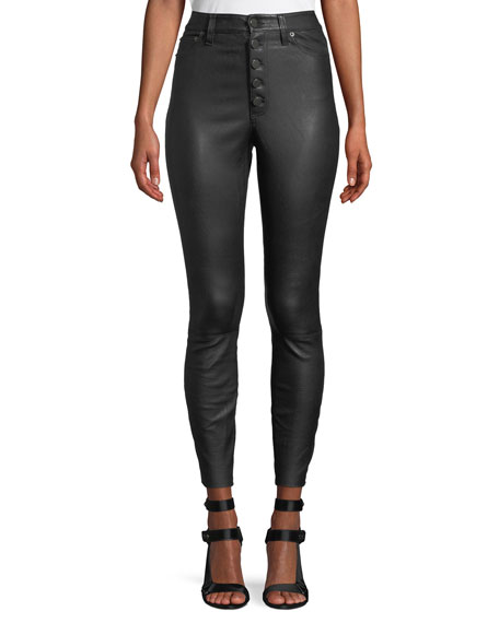 Mikah Leather High-Rise Button-Front Pants