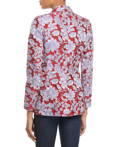 Macey Floral-Print Fitted Blazer Jacket