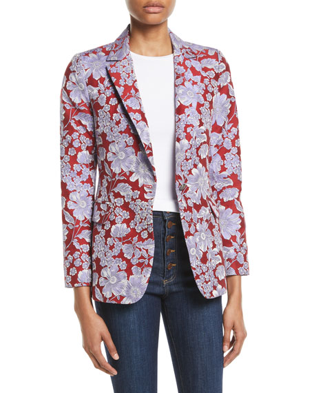 Macey Floral-Print Fitted Blazer Jacket, Red Pattern