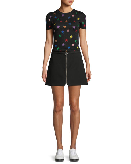 Riley Zip-Front A-Line Mini Skirt