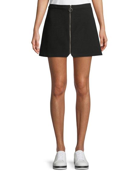 Alice + Olivia Riley Zip-Front Mini Skirt, Black