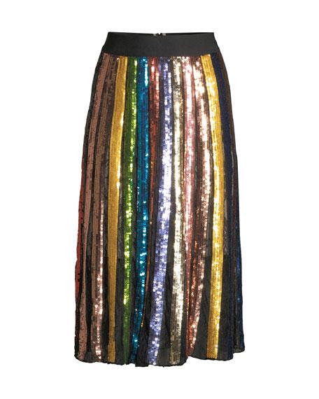 Tianna High-Rise Sequin Lace Midi Skirt