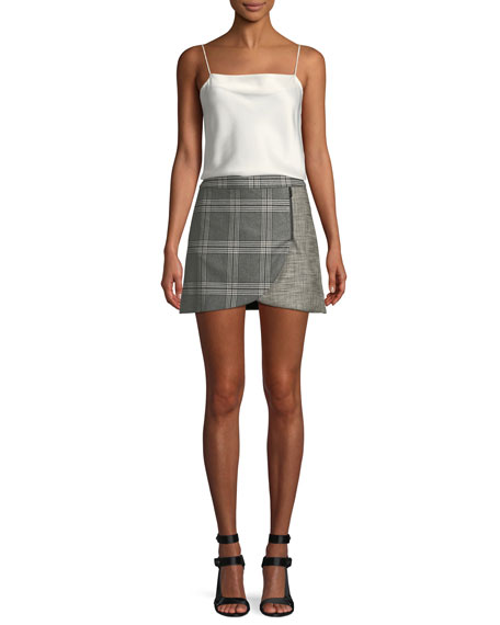 Lennon Colorblock Plaid Draped Mini Skirt