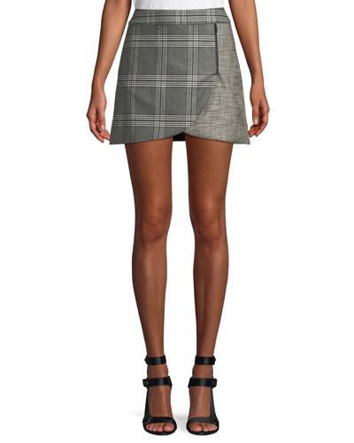 Lennon Colorblock Plaid Draped Mini Skirt