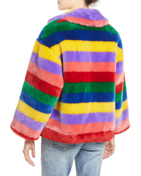 Thora Oversize Striped Faux-Fur Hook-Front Coat