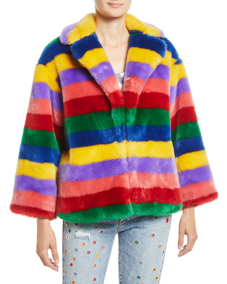 THORA OVERSIZE STRIPED FAUX-FUR HOOK-FRONT COAT